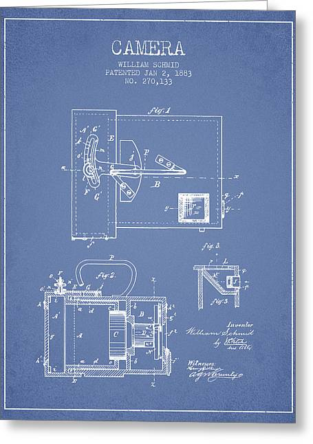 Schmid Greeting Cards - 1883 Camera Patent - light blue Greeting Card by Aged Pixel