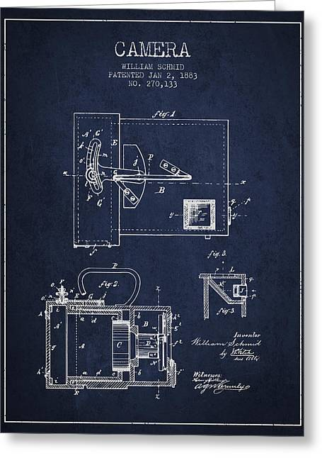 Schmid Greeting Cards - 1883 Camera Patent - navy blue Greeting Card by Aged Pixel