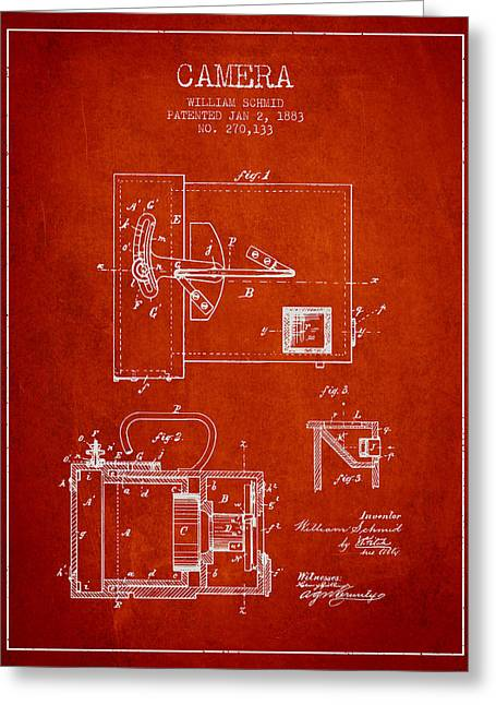 Schmid Greeting Cards - 1883 Camera Patent - red Greeting Card by Aged Pixel