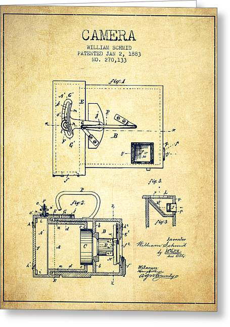 Schmid Greeting Cards - 1883 Camera Patent - vintage Greeting Card by Aged Pixel