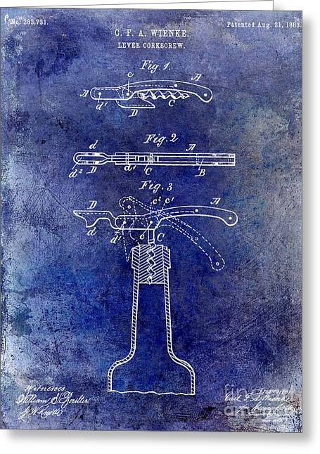 Merlot Greeting Cards - 1883 Corkscrew Patent Blue Greeting Card by Jon Neidert