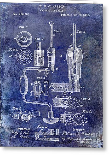 Drill Greeting Cards - 1883 Drill Patent Blue Greeting Card by Jon Neidert