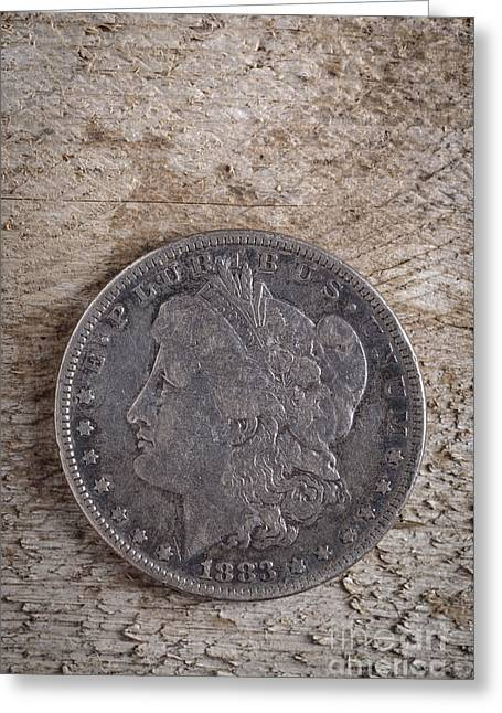 Payment Greeting Cards - 1883 Morgan Silver Dollar Greeting Card by Edward Fielding