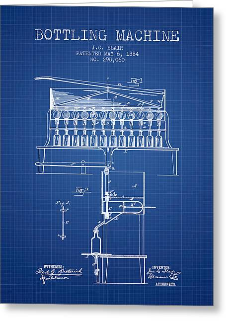 Bottle. Bottling Drawings Greeting Cards - 1884 Bottling Machine patent - blueprint Greeting Card by Aged Pixel