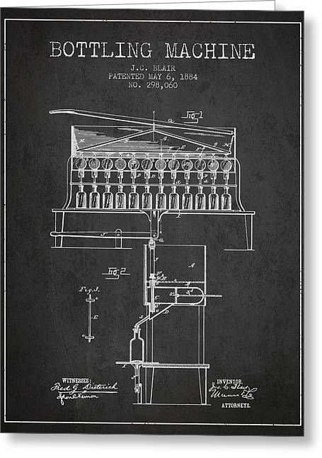 Bottle. Bottling Drawings Greeting Cards - 1884 Bottling Machine patent - charcoal Greeting Card by Aged Pixel