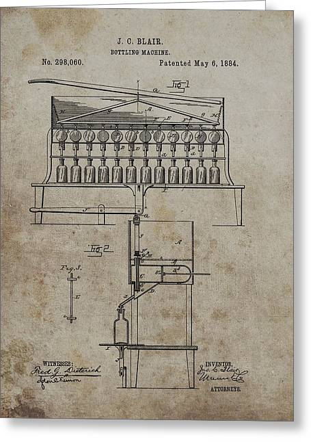 1884 Bottling Machine Patent Greeting Card by Dan Sproul