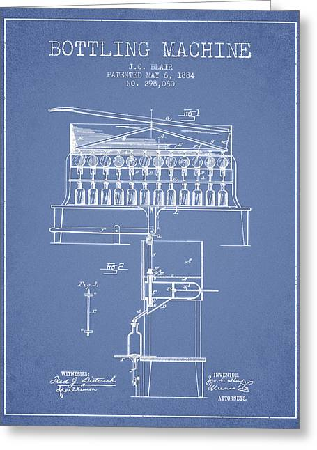 Bottle. Bottling Drawings Greeting Cards - 1884 Bottling Machine patent - light blue Greeting Card by Aged Pixel