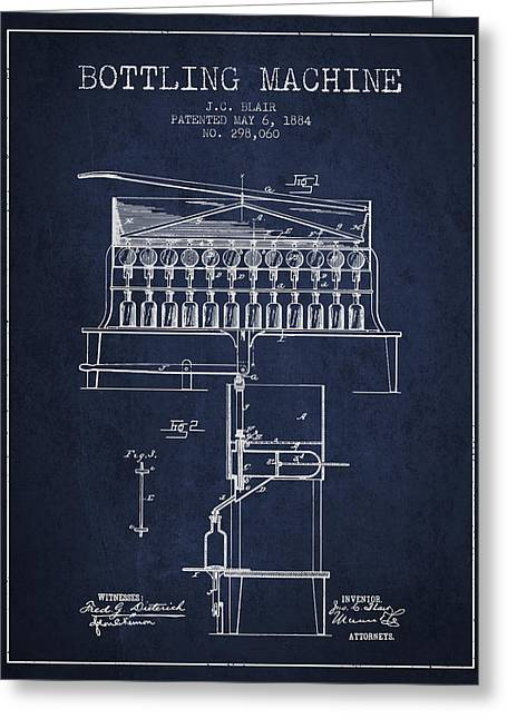 Bottle. Bottling Drawings Greeting Cards - 1884 Bottling Machine patent - navy blue Greeting Card by Aged Pixel
