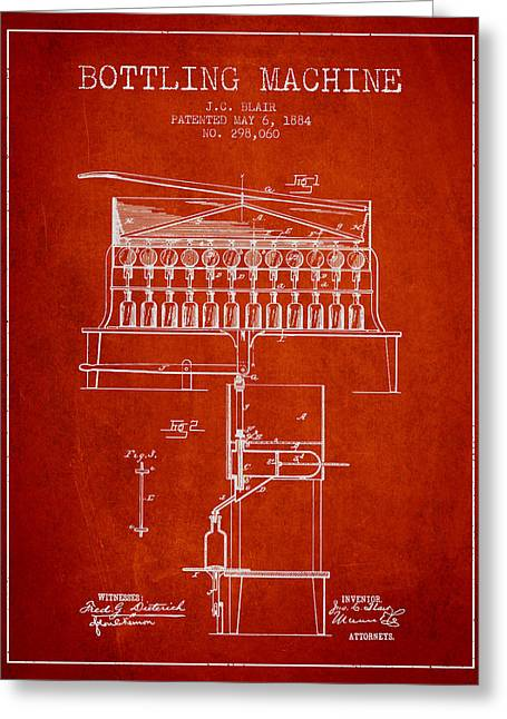 Bottle. Bottling Drawings Greeting Cards - 1884 Bottling Machine patent - red Greeting Card by Aged Pixel