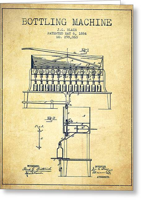 Bottle. Bottling Drawings Greeting Cards - 1884 Bottling Machine patent - vintage Greeting Card by Aged Pixel
