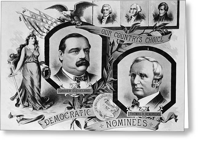 American Politician Photographs Greeting Cards - 1884 Campaign Banner Greeting Card by Underwood Archives