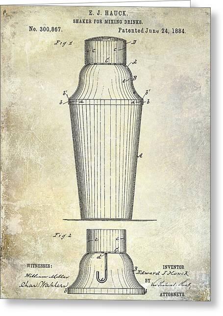 Cigar Greeting Cards - 1884 Drink Shaker Patent Greeting Card by Jon Neidert