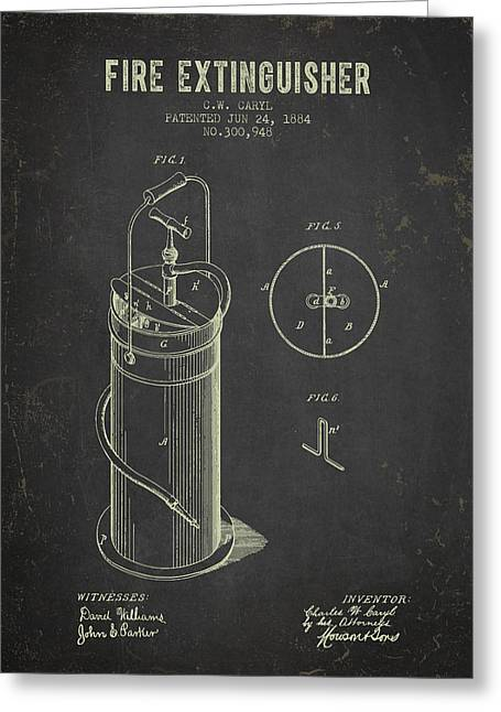 Rescue Greeting Cards - 1884 Fire Extinguisher Patent - Dark Grunge Greeting Card by Aged Pixel