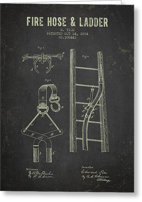 Fire Hose Greeting Cards - 1884 Fire Hose And Ladder Patent- Dark Grunge Greeting Card by Aged Pixel
