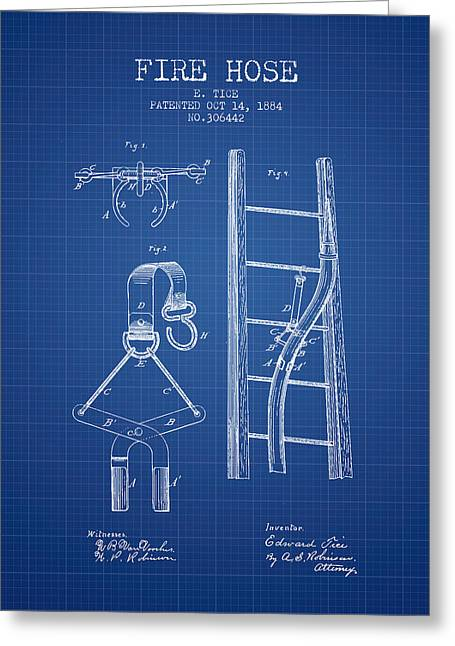 Fire Hose Greeting Cards - 1884 Fire Hose Patent - blueprint Greeting Card by Aged Pixel