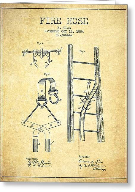 Fire Hose Greeting Cards - 1884 Fire Hose Patent - vintage Greeting Card by Aged Pixel