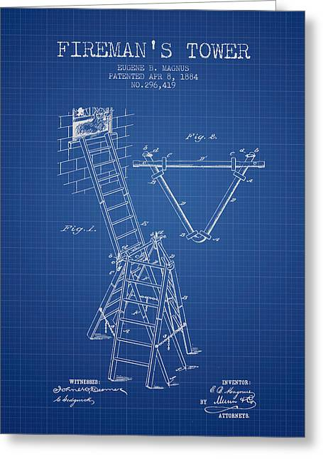 Rescue Greeting Cards - 1884 Firemans Tower Patent - Blueprint Greeting Card by Aged Pixel