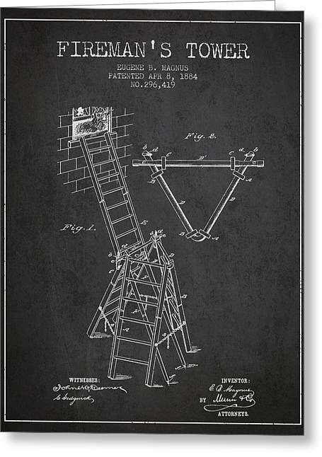 Rescue Greeting Cards - 1884 Firemans Tower Patent - Charcoal Greeting Card by Aged Pixel