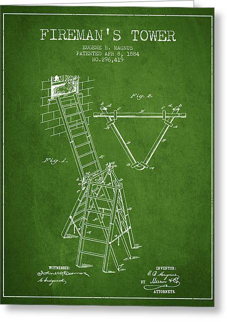 Rescue Greeting Cards - 1884 Firemans Tower Patent - Green Greeting Card by Aged Pixel