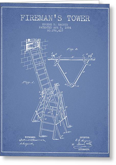 Rescue Greeting Cards - 1884 Firemans Tower Patent - Light Blue Greeting Card by Aged Pixel