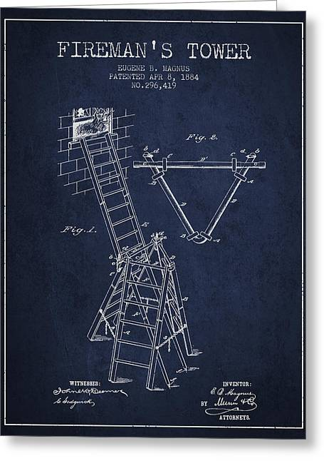 Rescue Greeting Cards - 1884 Firemans Tower Patent - Navy Blue Greeting Card by Aged Pixel