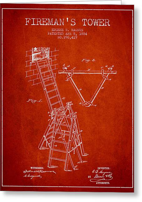 Rescue Greeting Cards - 1884 Firemans Tower Patent - Red Greeting Card by Aged Pixel
