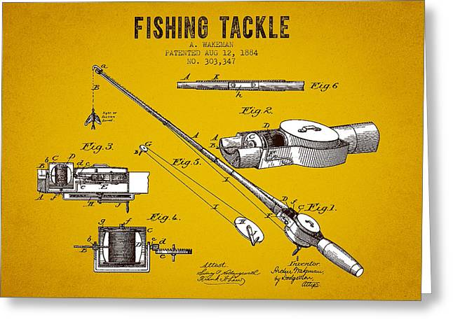 Fishing Rods Greeting Cards - 1884 Fishing Tackle Patent - Yellow Brown Greeting Card by Aged Pixel