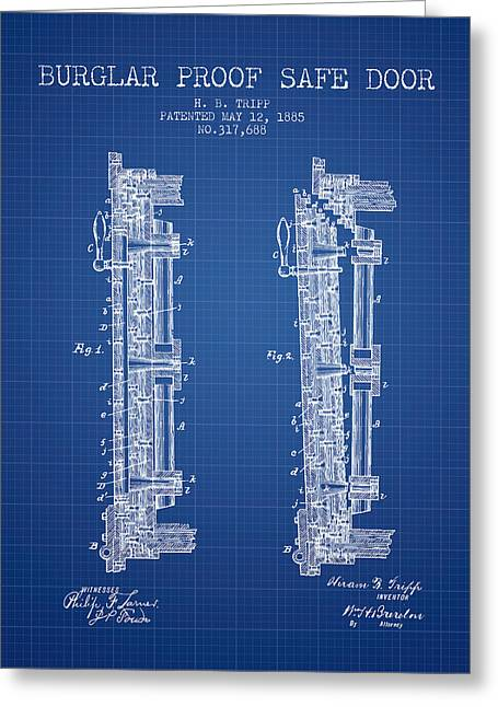 Silver Drawings Greeting Cards - 1885 Bank Safe Door Patent - blueprint Greeting Card by Aged Pixel