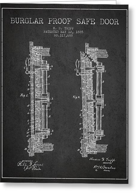 Bank Art Greeting Cards - 1885 Bank Safe Door Patent - charcoal Greeting Card by Aged Pixel