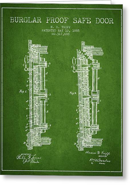 Bank Art Greeting Cards - 1885 Bank Safe Door Patent - green Greeting Card by Aged Pixel
