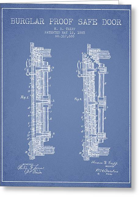 Bank Art Greeting Cards - 1885 Bank Safe Door Patent - light blue Greeting Card by Aged Pixel