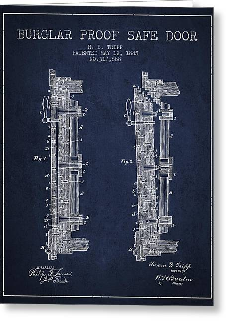 Bank Art Greeting Cards - 1885 Bank Safe Door Patent - navy blue Greeting Card by Aged Pixel