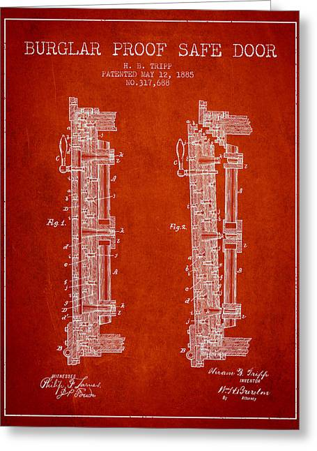 Bank Art Greeting Cards - 1885 Bank Safe Door Patent - red Greeting Card by Aged Pixel