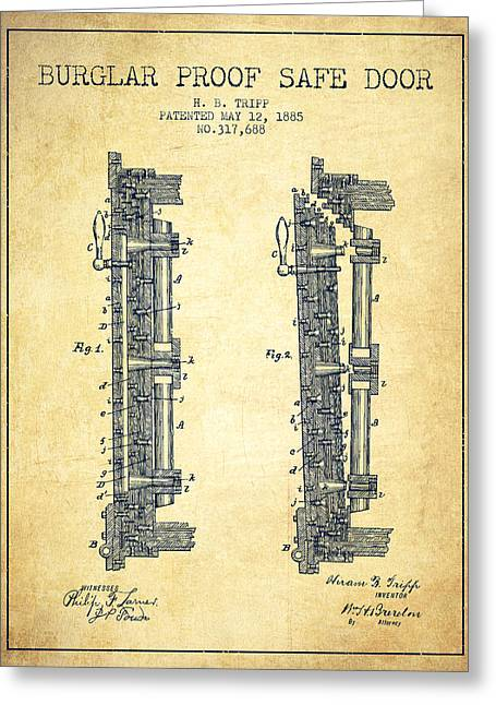 Bank Art Greeting Cards - 1885 Bank Safe Door Patent - vintage Greeting Card by Aged Pixel