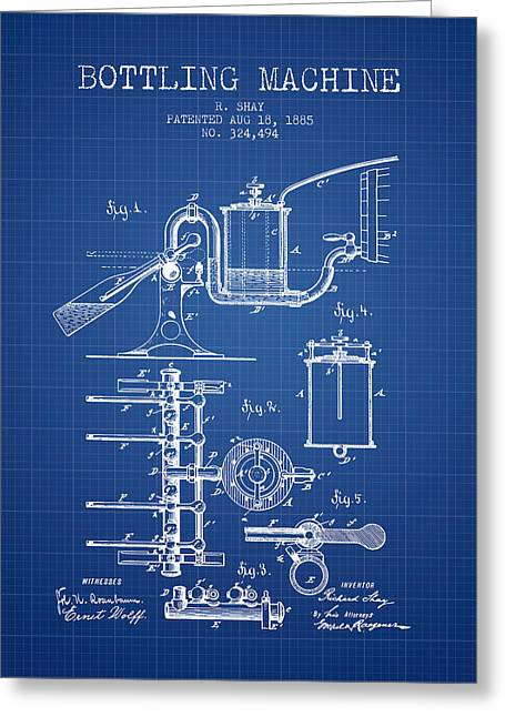 Bottle. Bottling Drawings Greeting Cards - 1885 Bottling Machine patent - Blueprint Greeting Card by Aged Pixel