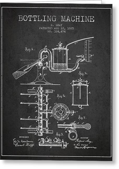 Bottle. Bottling Drawings Greeting Cards - 1885 Bottling Machine patent - charcoal Greeting Card by Aged Pixel