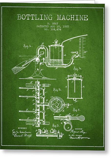 Bottle. Bottling Drawings Greeting Cards - 1885 Bottling Machine patent - Green Greeting Card by Aged Pixel