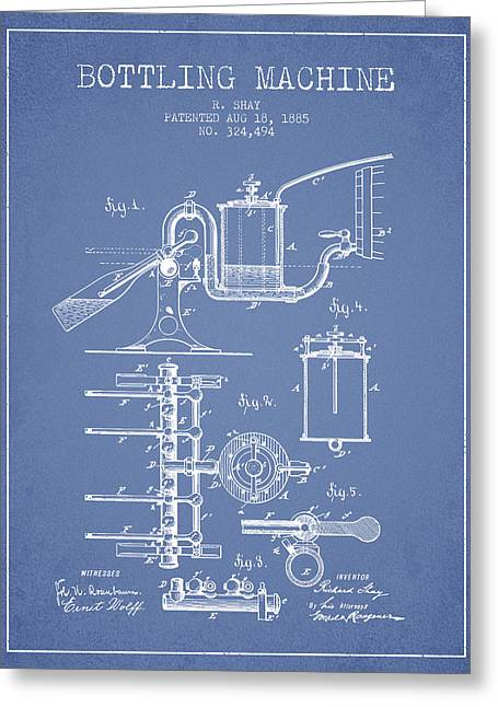 Bottle. Bottling Drawings Greeting Cards - 1885 Bottling Machine patent - Light Blue Greeting Card by Aged Pixel
