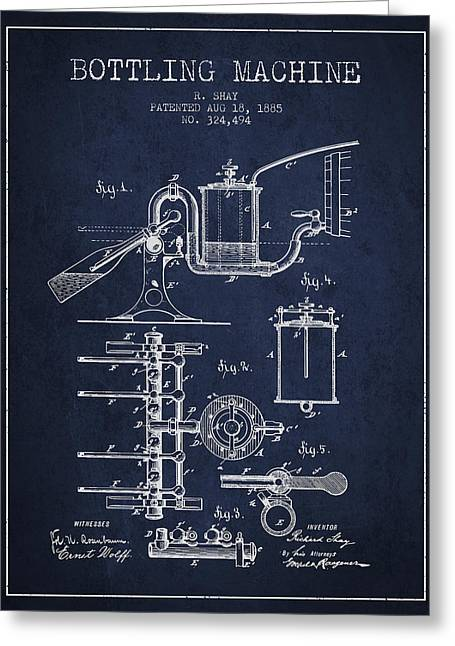 Bottle. Bottling Drawings Greeting Cards - 1885 Bottling Machine patent - Navy Blue Greeting Card by Aged Pixel