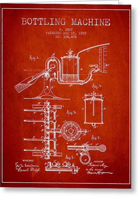 Bottle. Bottling Drawings Greeting Cards - 1885 Bottling Machine patent - red Greeting Card by Aged Pixel