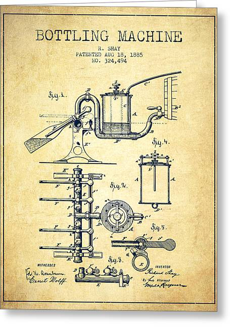 Bottle. Bottling Drawings Greeting Cards - 1885 Bottling Machine patent - Vintage Greeting Card by Aged Pixel