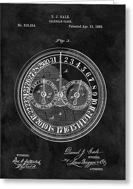 1885 Calendar Clock Greeting Card by Dan Sproul
