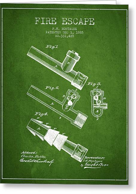 Rescue Greeting Cards - 1885 Fire Escape Patent - Green Greeting Card by Aged Pixel
