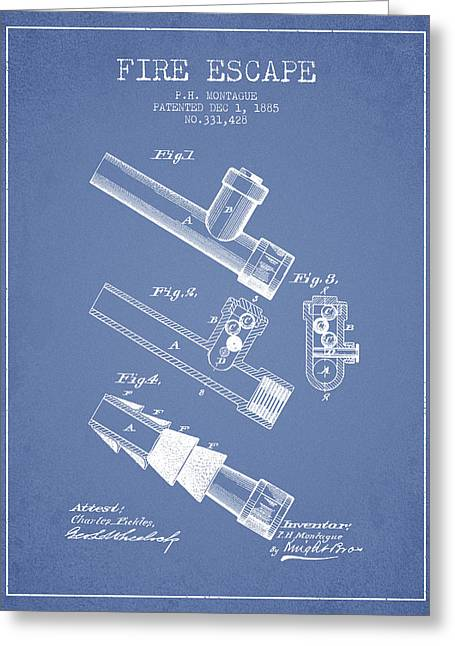 Rescue Greeting Cards - 1885 Fire Escape Patent - Light Blue Greeting Card by Aged Pixel
