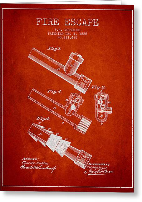 Rescue Greeting Cards - 1885 Fire Escape Patent - Red Greeting Card by Aged Pixel