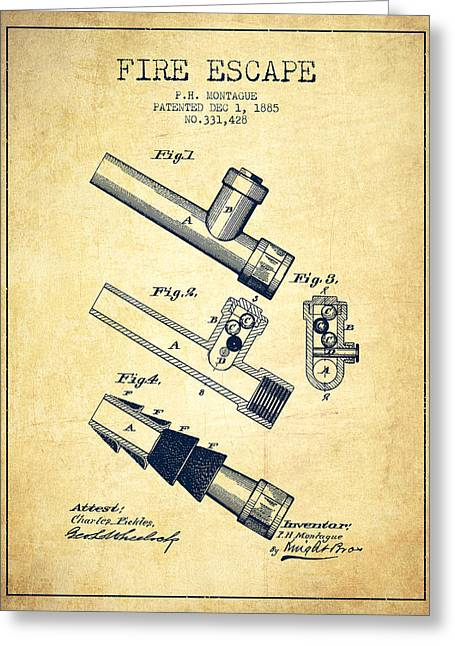 Rescue Greeting Cards - 1885 Fire Escape Patent - Vintage Greeting Card by Aged Pixel