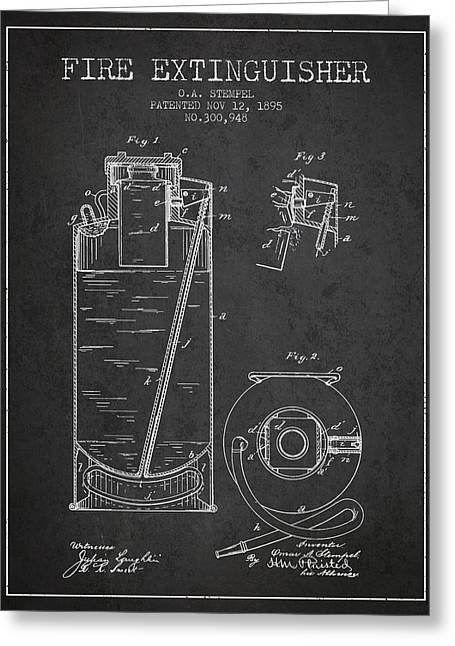Fire Department Greeting Cards - 1885 Fire Extinguisher Patent - charcoal Greeting Card by Aged Pixel