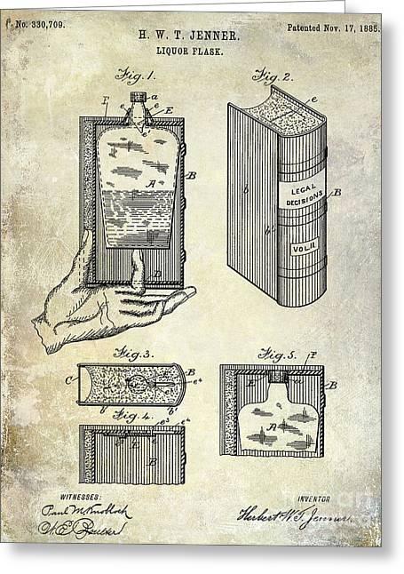 Mixed Drink Greeting Cards - 1885 Liquor Flask Patent Greeting Card by Jon Neidert