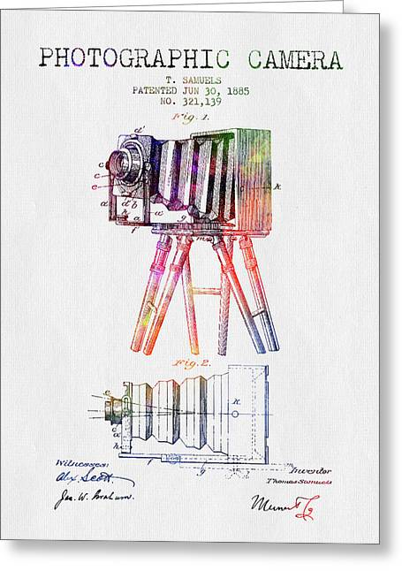 Old Camera Greeting Cards - 1885 Photographic Camera Patent - Color Greeting Card by Aged Pixel