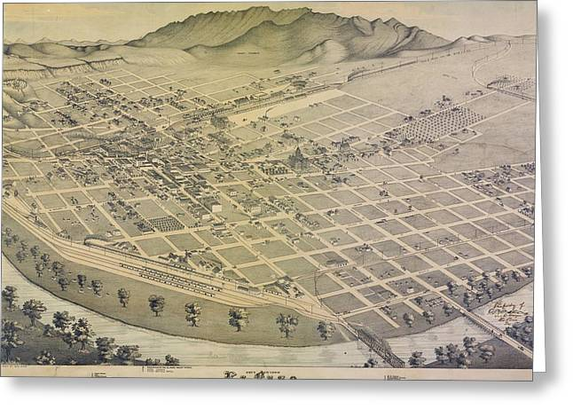 Texas A Drawings Greeting Cards - 1886 A birds eye view of El Paso Texas Greeting Card by Celestial Images